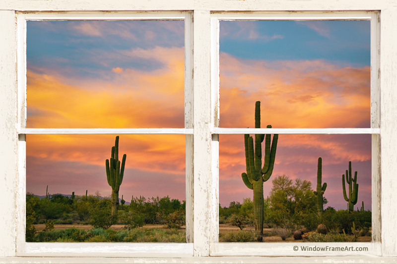 Colorful Southwest Desert Rustic Window View