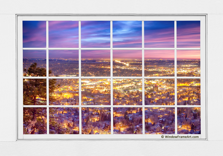 Downtown Boulder Colorado City Lights Sunrise  Window View 8LG