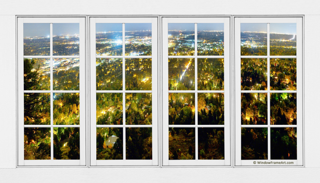 City Lights White Window Frame View