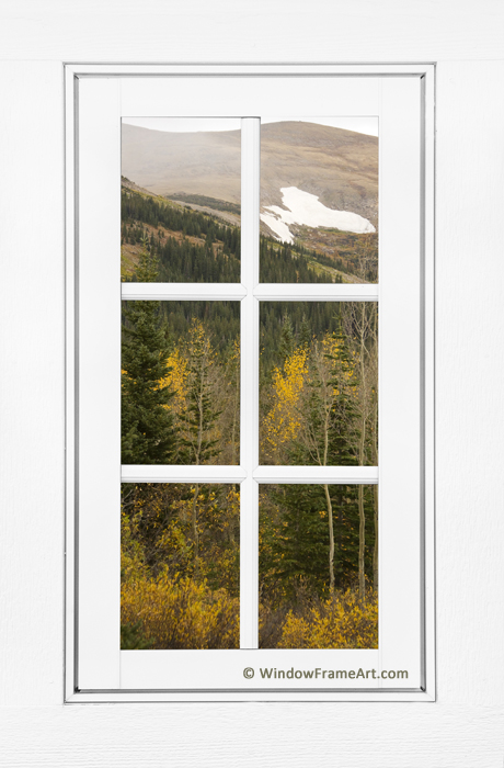 Autumn Rocky Mountain Glacier View Through a White Window Frame